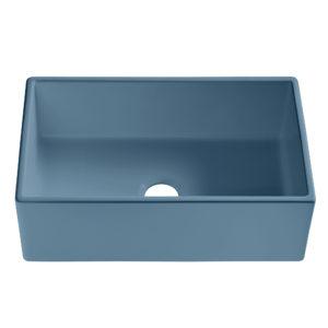 matte blue farmhouse fireclay sink