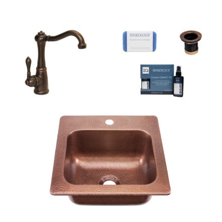 copper sink, faucet, drain, copper careIQ kit, scrubber