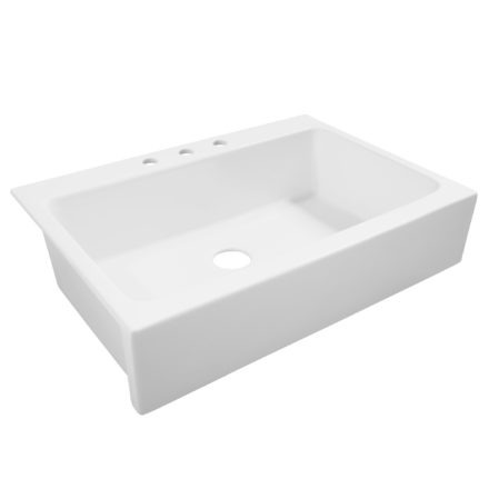 matte white drop-in fireclay sink