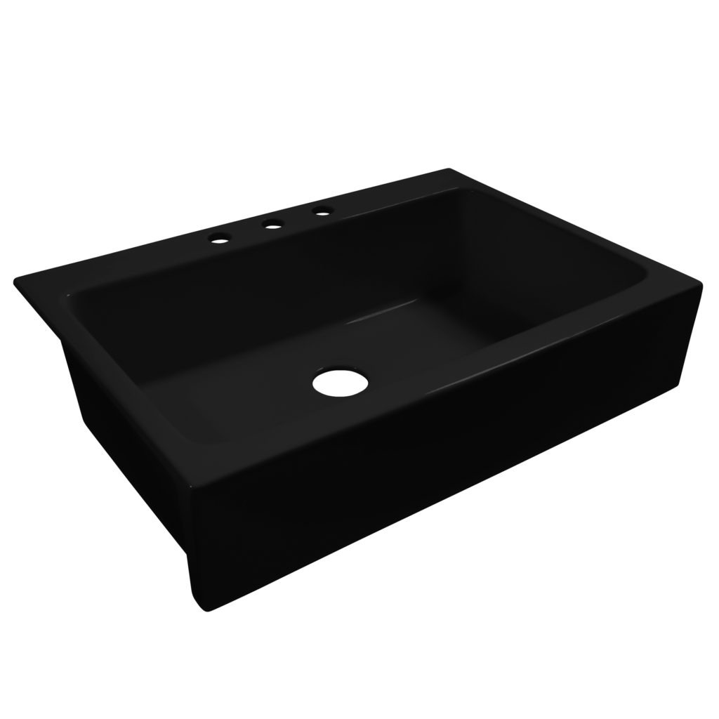 gloss black drop-in fireclay sink