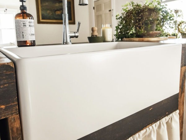 matte white farmhouse fireclay sink
