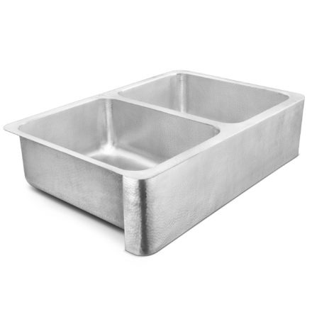 brushed crafted stainless steel double bowl farmhouse sink