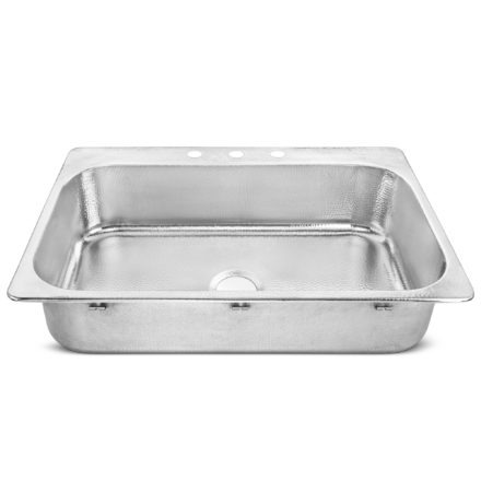 polished crafted stainless steel drop-in sink