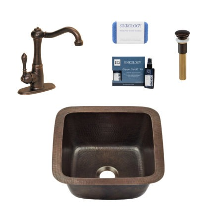 aged copper drop-in or undermount copper bar sink kit with faucet, care kit, pop-up drain, and scrubber
