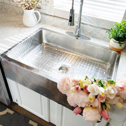 Crafted Stainless Steel Sink with pink flowers