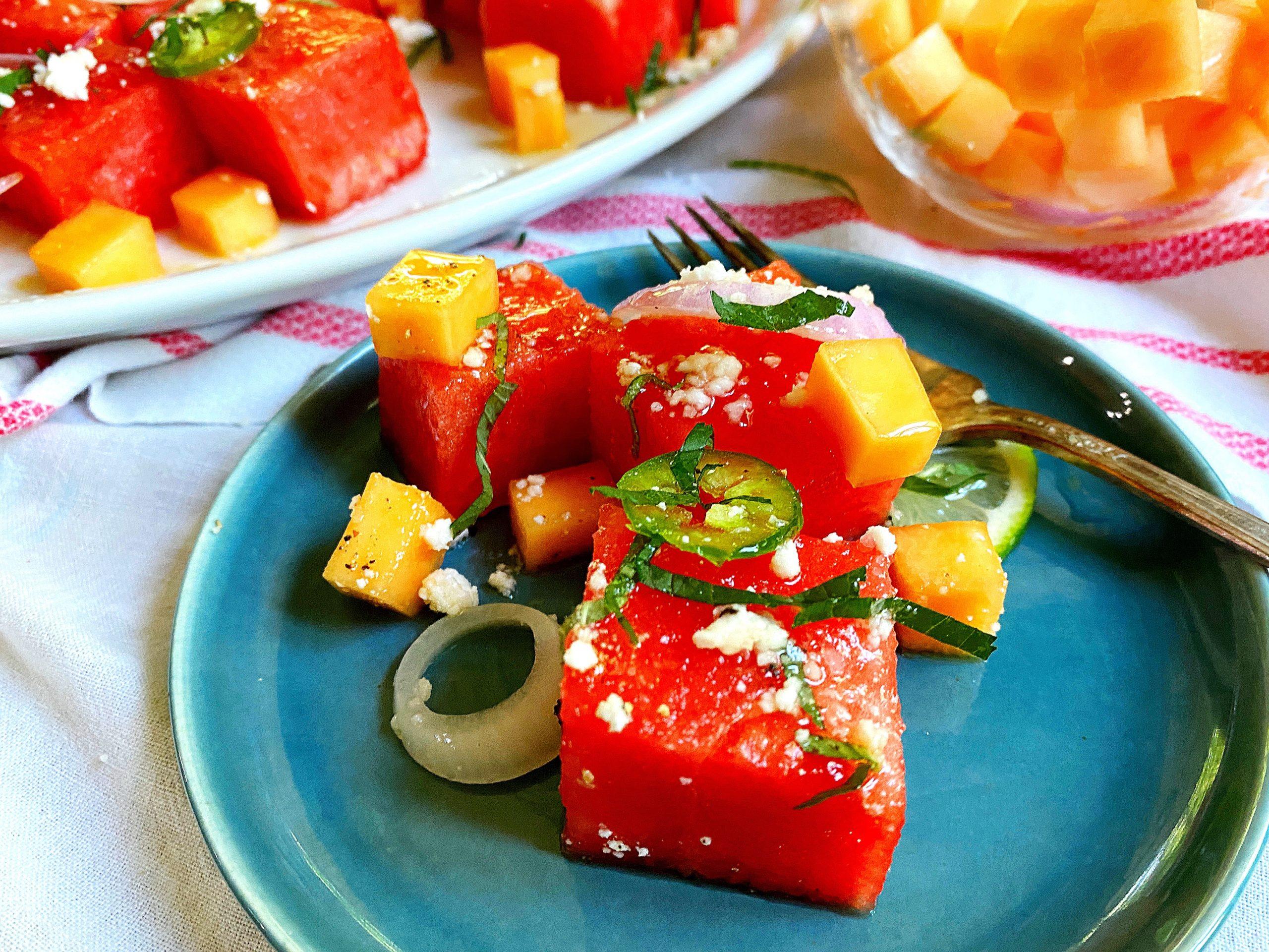 Mojito Melon Summer salad served