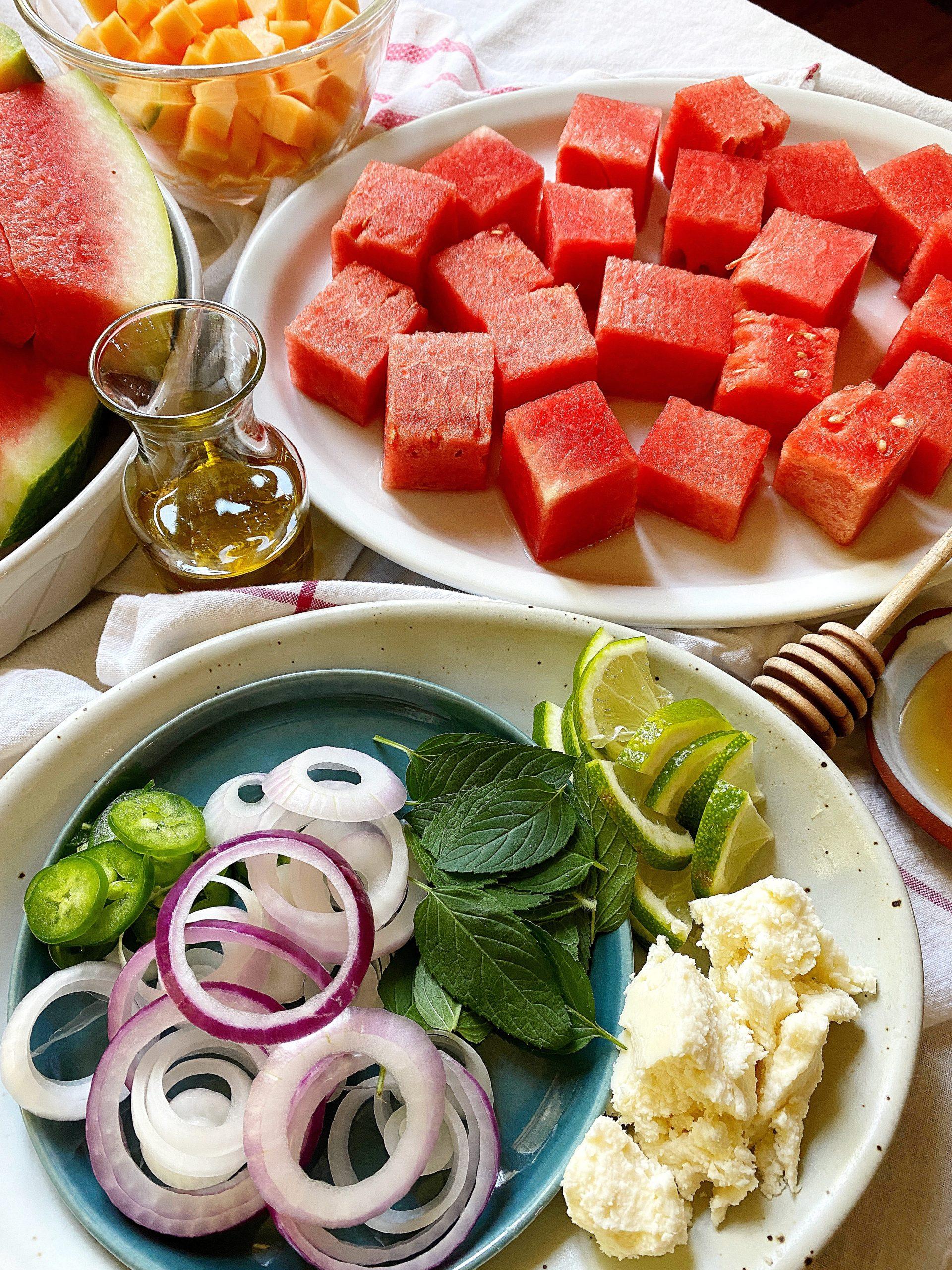 mojito melon salad ingredients close up
