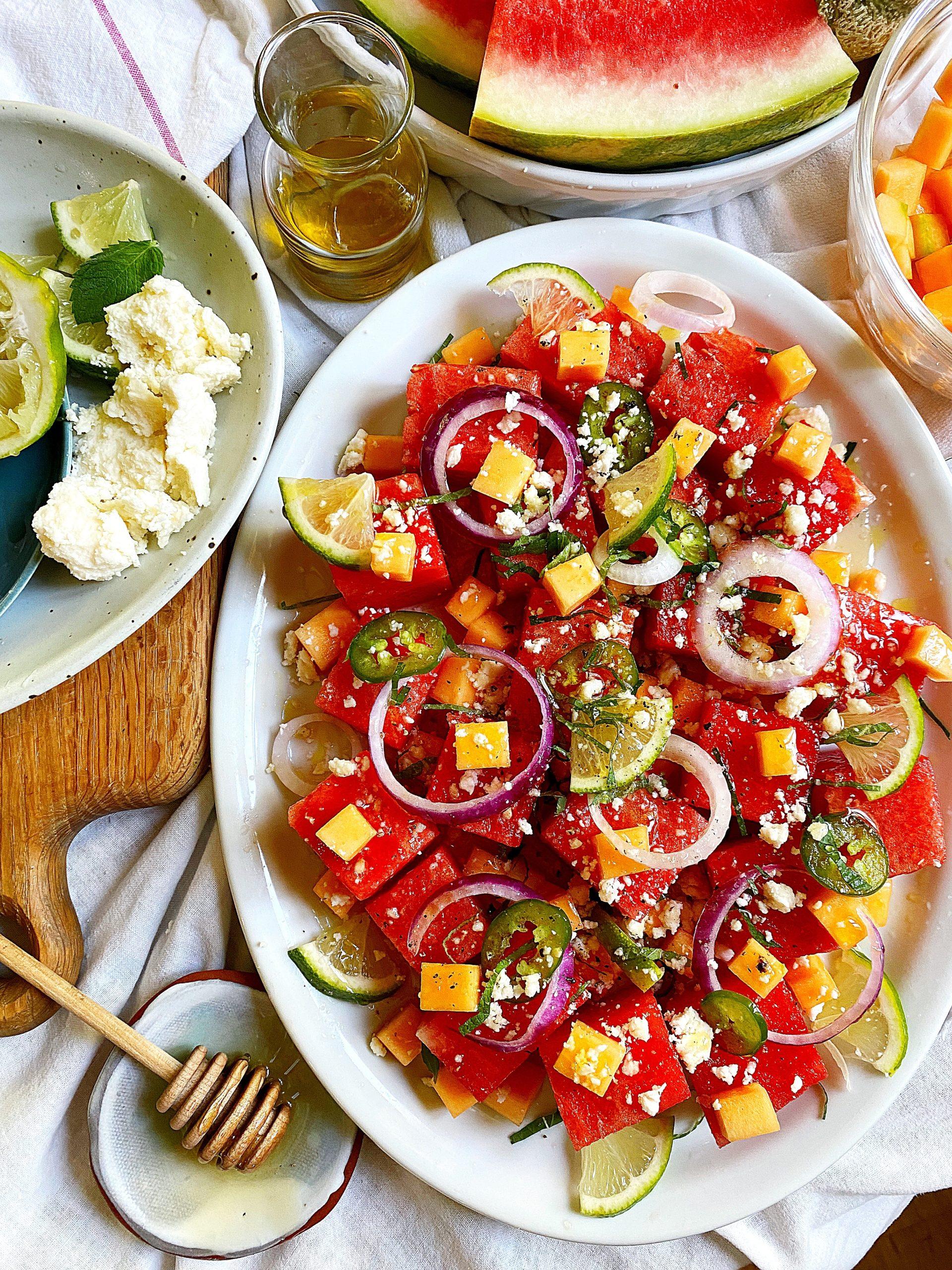 mojito melon summer salad - salad dressing added