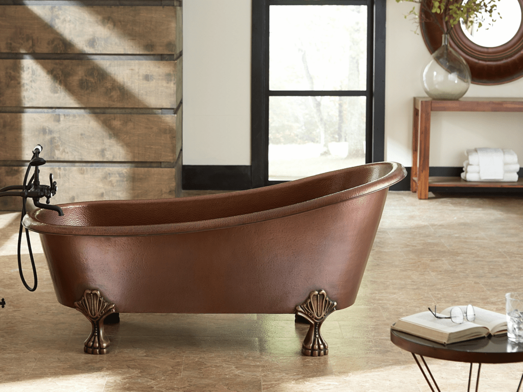 copper bathtub with claw feet