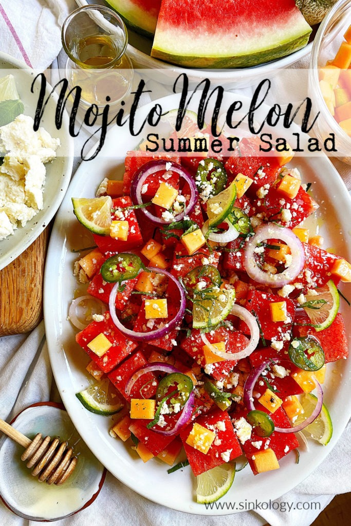 mojito melon summer salad pinable image