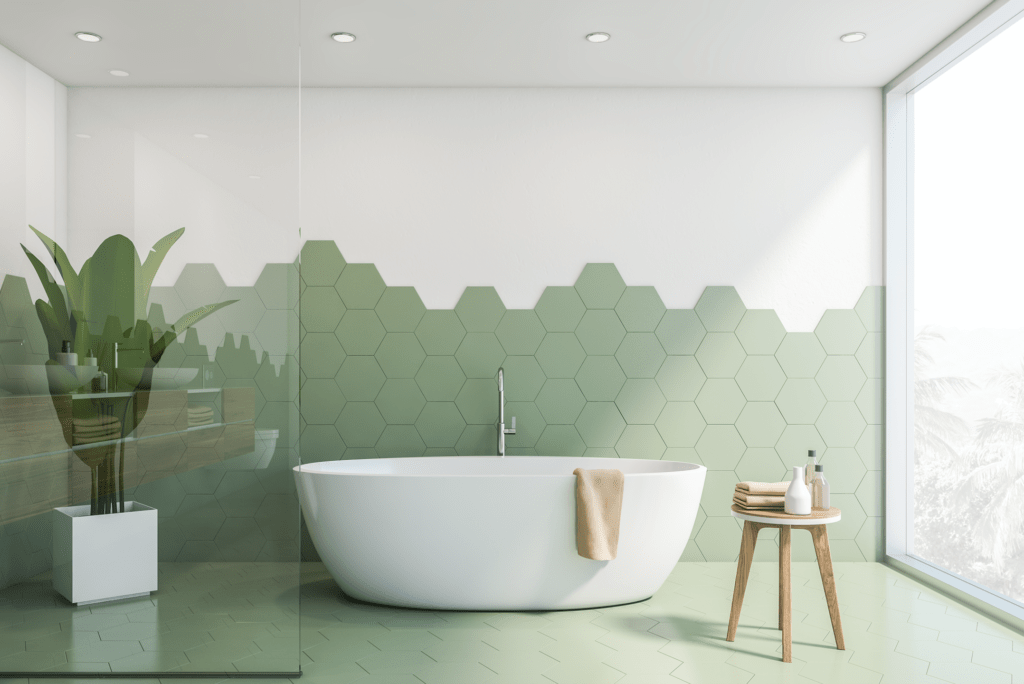 tiled bathroom in green and white