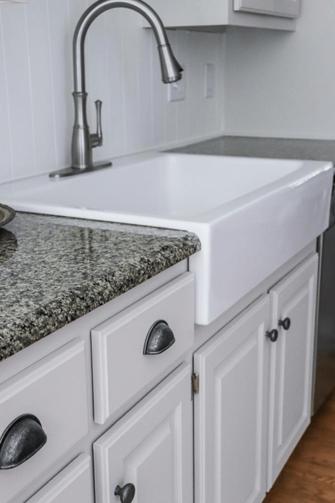 side shot of fireclay drop-in sink