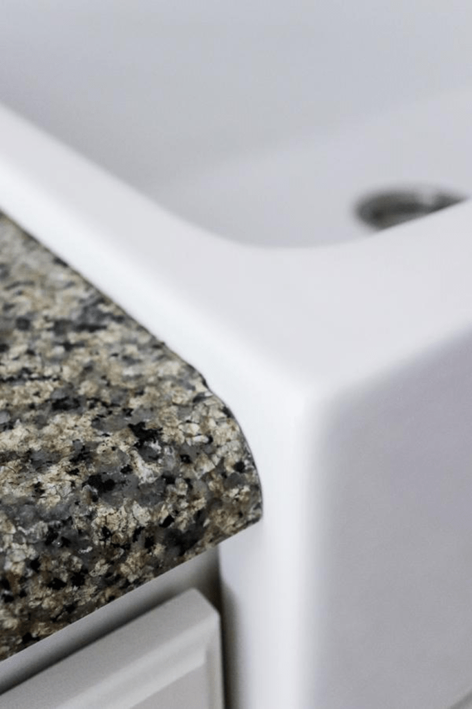 edge of countertop and sink