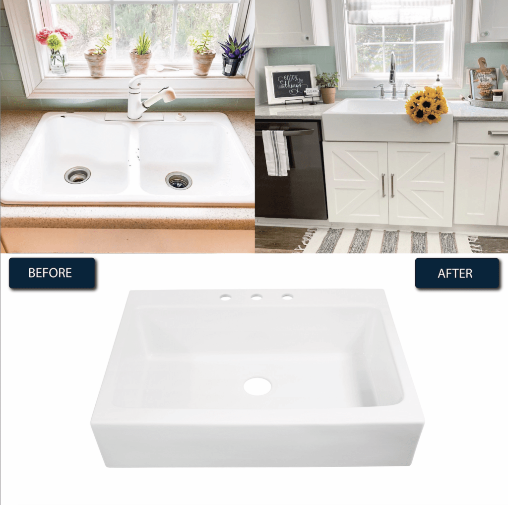 before and after of the Josephine Sink installed