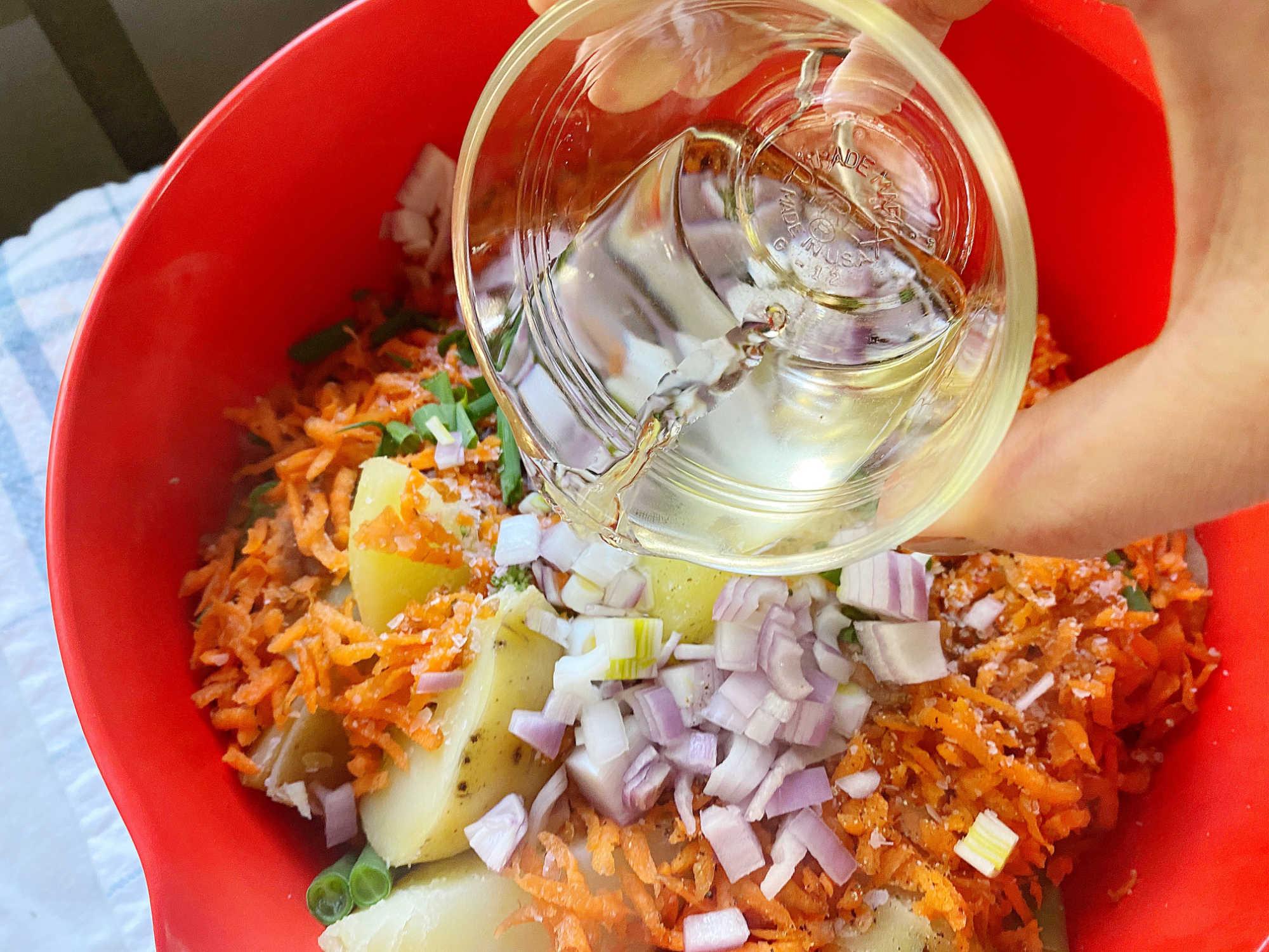 adding white wine vinegar